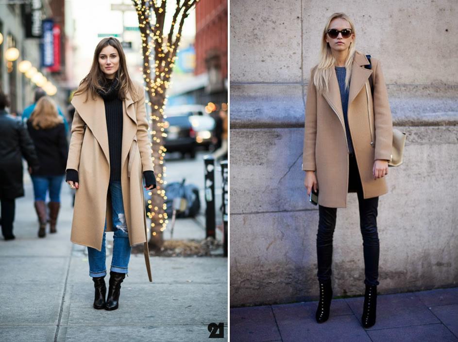 Vestido negro y abrigo beige